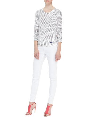 Burberry Brit Polka-Dot Drape-Back Knit Sweater & Seamed Skinny Jeans with Heritage Ring