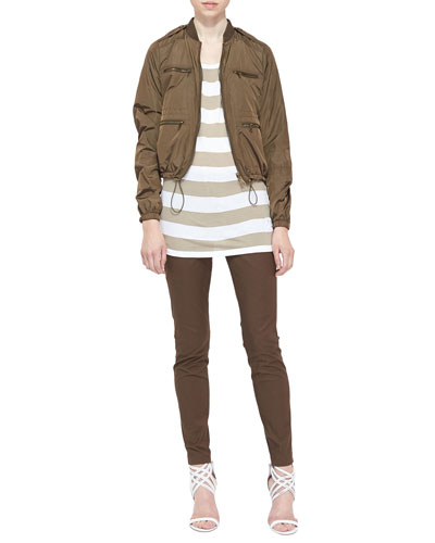 Burberry Brit Reversible Bomber Jacket, Wide-Striped Tank Top & Skinny Tailored Ankle Pants