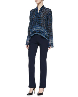 Donna Karan Long-Sleeve Printed High-Low Top & Slim Split-Cuff Pants