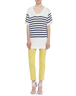 Burberry Brit Short-Sleeve Stripe Knit Oversized Tee & Skinny Ankle Jeans