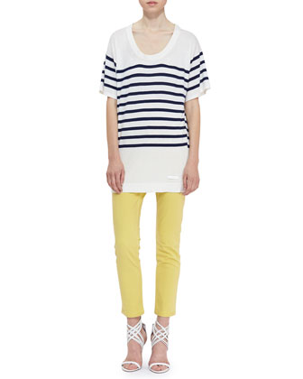 Short-Sleeve Stripe Knit Oversized Tee & Skinny Ankle Jeans