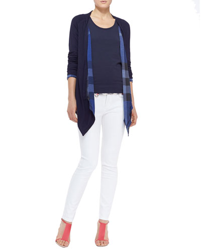 Burberry Brit Reversible Check Waterfall Cardigan, Check-Hem Cotton Tank & Seamed Skinny Jeans with Heritage Ring