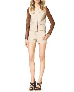 MICHAEL Michael Kors  Leather-Sleeve Twill Jacket & Stretch Clean Mini Shorts