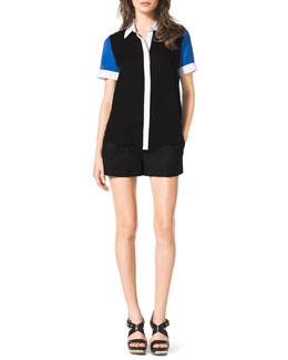 MICHAEL Michael Kors  Short-Sleeve Colorblock Blouse & Pleated Zip-Pocket Shorts