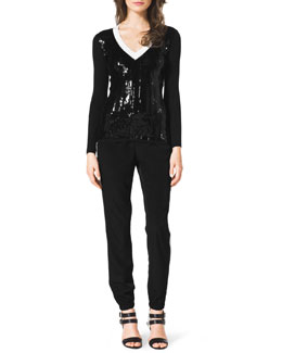MICHAEL Michael Kors  Ribbed Sequin-Front Sweater & Two-Tone Track Pants
