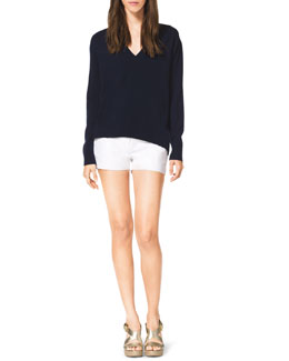 MICHAEL Michael Kors  High-Low Cashmere Top & Stretch Clean Mini Shorts