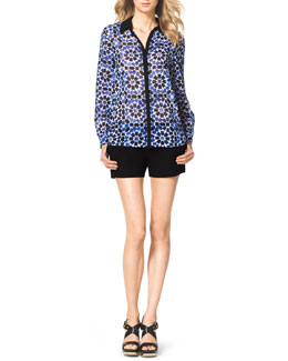 MICHAEL Michael Kors  Printed Solid-Trim Blouse & Pleated Zip-Pocket Shorts