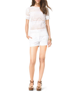 MICHAEL Michael Kors  See-Through Eyelet Shirt & Mini Shorts