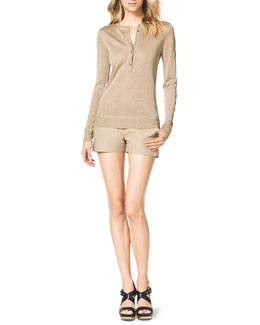 MICHAEL Michael Kors  Shimmery Knit Henley Top & Stretch Clean Mini Shorts
