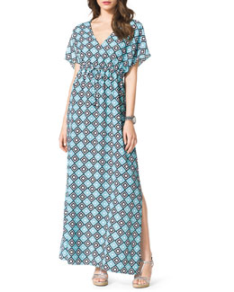 MICHAEL Michael Kors  Diamond-Print Short-Sleeve Maxi Dress