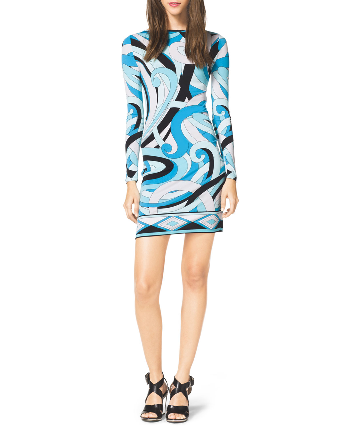 Long-Sleeve Printed Jersey Dress