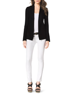 MICHAEL Michael Kors  Structured Linen Blazer, Striped Sleeveless Ponte Top & Slim Jeans