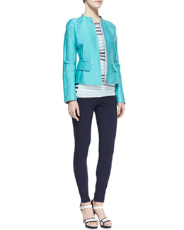 Armani Collezioni 2-Pocket Zip-Front Sport Jacket, Striped Short-Sleeve Knit Top & Jersey Legging Pants with Front Zip