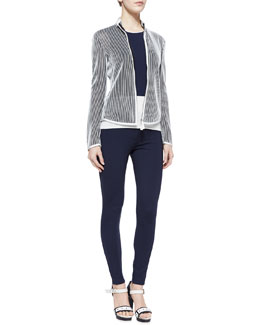 Armani Collezioni Stripe Knit Jacket, Colorblock Knit Tank & Jersey Legging Pants with Front Zip