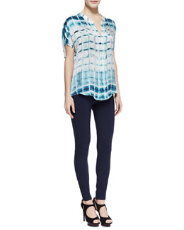Armani Collezioni Windowpane Double-Placket Silk Blouse & Jersey Legging Pants with Front Zip