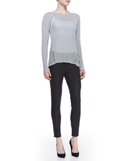 Elie Tahari Labria Knit Long-Sleeve Sweater & Selena Waxed Slim-Leg Jeans