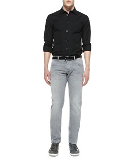 Dolce & Gabbana Pinstripe Gold-Fit Long-Sleeve Shirt & Washed Gray Denim Jeans