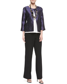 Eileen Fisher 3/4-Sleeve Threaded Silk Jacket & Eco Tropical Suiting Wide-Leg Trousers