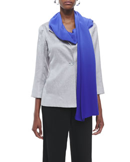 Eileen Fisher Jacquard Shimmer One-Button Jacket & Ombre Silk Crepe Scarf, Women's