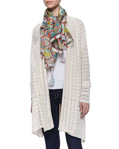 Johnny Was Collection Long Crochet Open Jacket & Dandridge Printed Silk Scarf