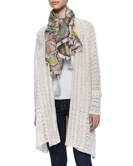 Johnny Was Collection Long Crochet Open Jacket & Dandridge Printed Silk Scarf, Women's