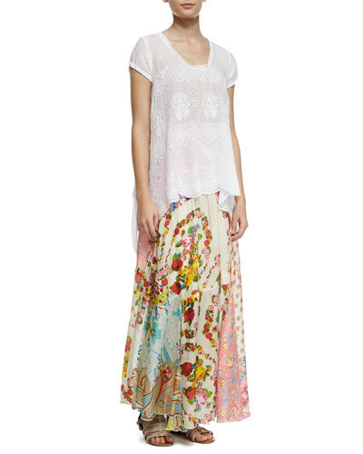 Johnny Was Collection Jasmine Short-Sleeve Scalloped Top & Georgette Mixed Floral-Print Maxi Skirt, Women's