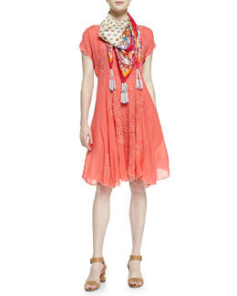 Johnny Was Collection Lucy Printed Silk Dress & Ross Printed Silk Georgette Scarf