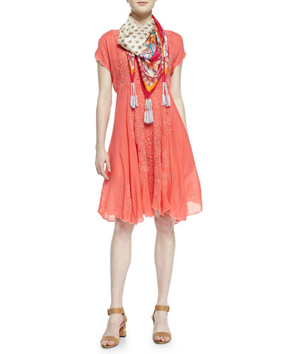 Johnny Was Collection Lucy Eyelet Cap-Sleeve Dress & Ross Printed Silk Georgette Scarf