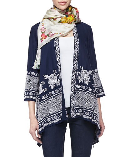 Johnny Was Collection Baylee Embroidered Drape Cardigan & Sala Printed Silk Scarf