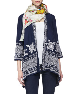 Johnny Was Collection Baylee Embroidered Drape Cardigan & Sala Printed Silk Scarf, Women's