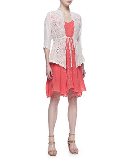 Johnny Was Collection Sunshine Embroidered Bias-Cut Dress & Vivienne Lacey Cover Up Jacket