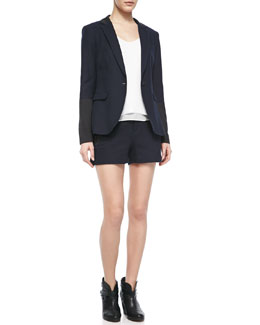 Rag & Bone Timeless Blazer With Leather Accents, Chieftain Crepe Racerback Tank & Tatiana Leather-Trim Shorts