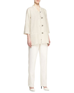 Caroline Rose Tissue Linen Shirt Jacket, Tissue Linen Tank & Linen Straight-Leg Pants