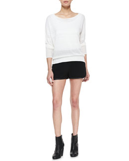 Rag & Bone Denise Bateau-Neck Sweater & Platini Leather-Trim Shorts