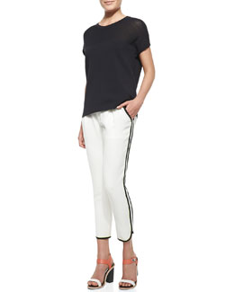 Rag & Bone Nicola Mix-Fabric Easy Tee & Platini Side-Stripe Cropped Pants