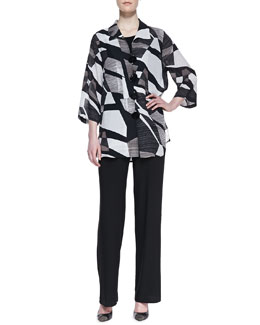 Caroline Rose Fragmented-Print Easy Georgette Shirt, Stretch-Knit Long Tank & Straight-Leg Jersey Pants, Women's