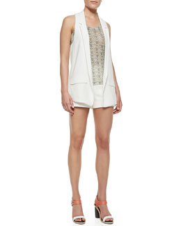 Rag & Bone Ines Leather-Trim Crepe Vest, Lightweight Printed Sleeveless Top & Farnsworth Structured Crepe Shorts