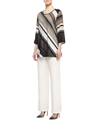 Caroline Rose Layered-Stripe Printed Tunic and Wide-Leg Stretch Pants