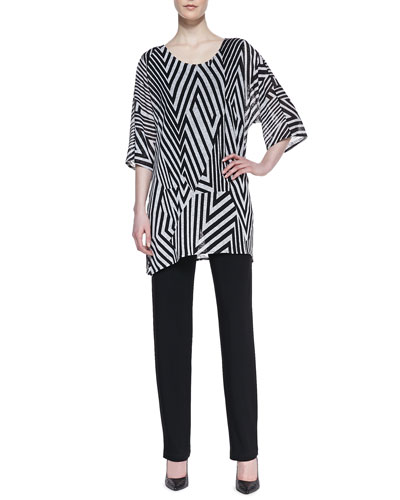 Caroline Rose Divided Lines Tunic & Stretch-Knit Slim Pants
