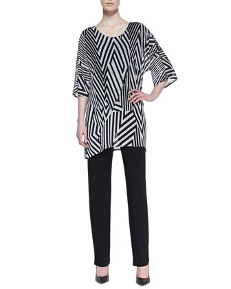 Divided Lines Knit Tunic & Stretch-Knit Slim Pants, Women's