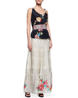 JWLA for Johnny Was Floral-Print Reversible Tank, Sangria Obi Belt & Plaid Georgette Maxi Skirt