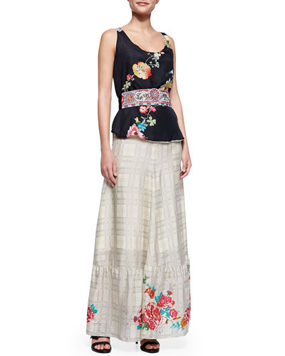 Johnny Was Collection Floral-Print Reversible Tank, Sangria Obi Belt & Plaid Georgette Maxi Skirt