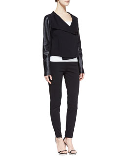 T Tahari Nanette Perforated Faux-Leather Sleeve Jacket & Tahoe Mesh-Detail Knit Pants
