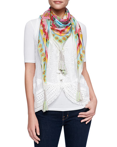 Johnny Was Collection Floral Tassel Vest & Teally Print Silk Scarf