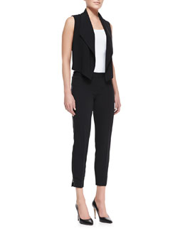 T Tahari Zora Cropped Chiffon-Back Vest & Raquel Side-Zip Pants
