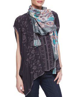 Johnny Was Collection Boxy Floral-Print Cover Up & Fairchild Print Silk Scarf, Women's