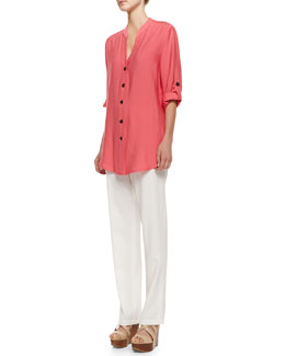 Caroline Rose Cabo Crinkle Easy Shirt & Cabo Straight-Leg Pants