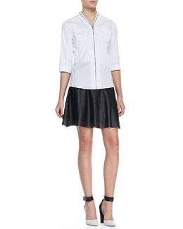 T Tahari Fleur Zip-Front Blouse & Caroline Perforated Faux-Leather Skirt