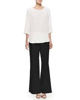 Caroline Rose Silk Crepe Jewelry Top & Silk Wide-Leg Pants