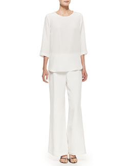Caroline Rose Silk Crepe Jewelry Top & Wide-Leg Pants